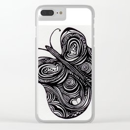 Butterlfy - Fly Free Buttefly - Black Butterfly - Clear iPhone Case