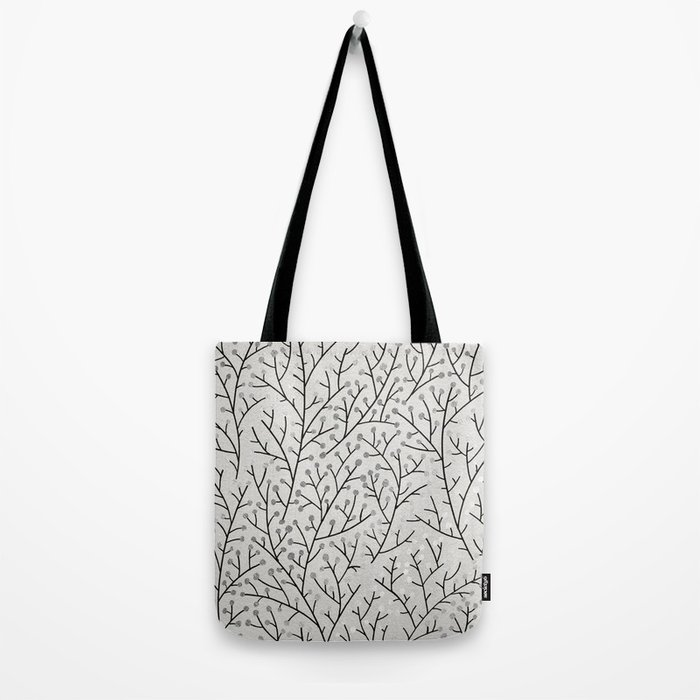 Berry Branches – Silver & Black Tote Bag
