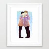 klaine Framed Art Prints featuring klaine winter by suitfer