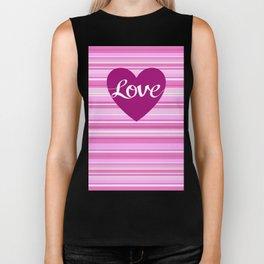 Love Script Heart on Stripes Pinks White Plum Biker Tank