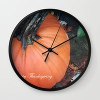 thanksgiving Wall Clocks featuring Happy Thanksgiving! by Colleen G. Drew