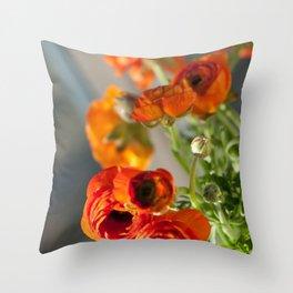 Orange you glad, ranunculus? Throw Pillow
