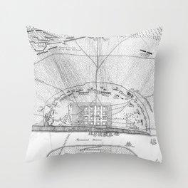 Vintage Map of The Siege of Savannah GA (1779) Throw Pillow