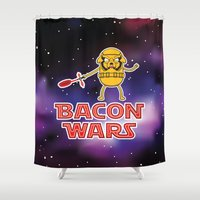 bacon Shower Curtains featuring Bacon wars by Enrique Valles