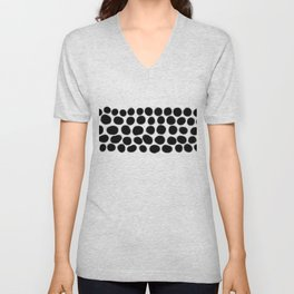 Onyx Black Spots on White Unisex V-Neck