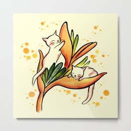Yellow Heliconia and Cat Twins Metal Print