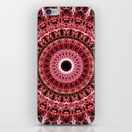Mandala in red and white colors iPhone Skin