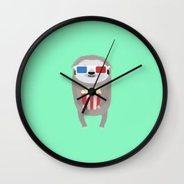 Cinema Sloth with Popcorn and Glasses T-Shirt Wall Clock