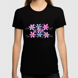 Violet Stripes with Flowers T-shirt