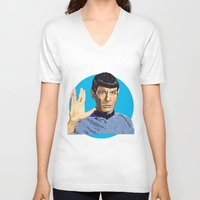 spock V-neck T-shirts featuring Spock by Connor Corbett