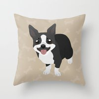boston terrier Throw Pillows featuring Boston Terrier by Sarah