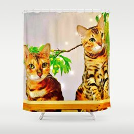 The Bengal Cat Couple Shower Curtain