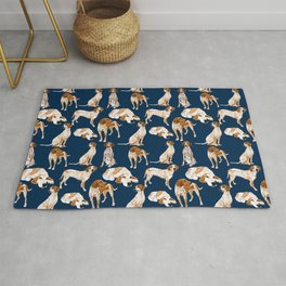 Redtick Coonhounds on Navy Rug