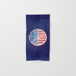Watercolor Patriot Peace Symbol Stars and Stripes USA Flag Hand & Bath Towel