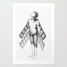 boy draws wings mk-II Art Print