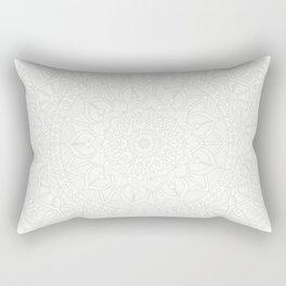 Cream on White Mandala Circle of Life Rectangular Pillow
