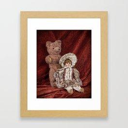Memories of Childhood Teddy Bear and Doll Framed Art Print