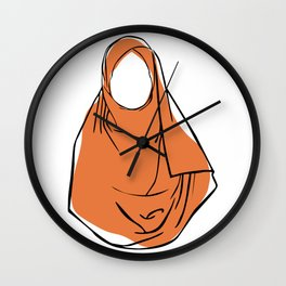 Hijab Woman 03, single line art colored set Wall Clock