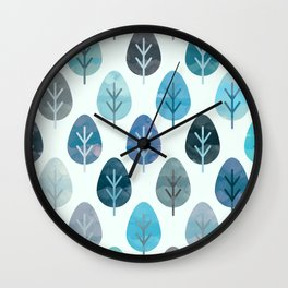 Watercolor Forest Pattern #2 Wall Clock