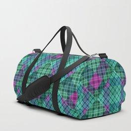 Turquoise green plaid Duffle Bag