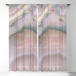 Pink and Blue agate 0425 Sheer Curtain