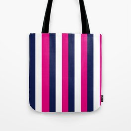 Stripes - Navy, White, Pink Tote Bag
