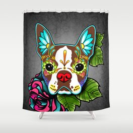 Boston Terrier in Red - Day of the Dead Sugar Skull Dog Shower Curtain