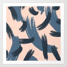 Modern ivory mauve blue watercolor brushstrokes pattern Art Print