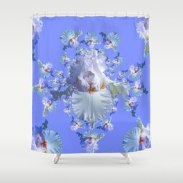 BLUE-WHITE IRIS ABSTRACT PATTERN Shower Curtain