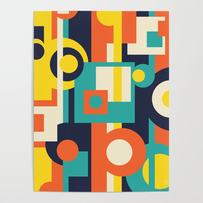 Funky Geometry (Modern Vibrant Color Palette) Poster by ...