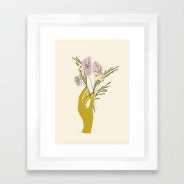 Yellow Hand Florals Framed Art Print