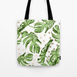 Simply Tropical White Gold Sands Dots and Palm Leaves Tote Bag