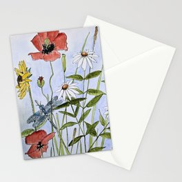 Wildflower Botanical Garden Flower Blue Skies Watercolor Stationery Cards