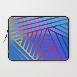Rainbow Ombre Pattern with Blue Background Laptop Sleeve