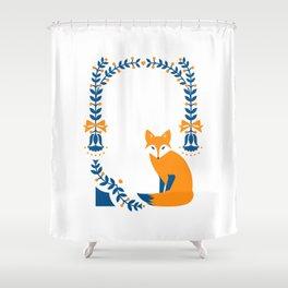 Folk Fox Shower Curtain