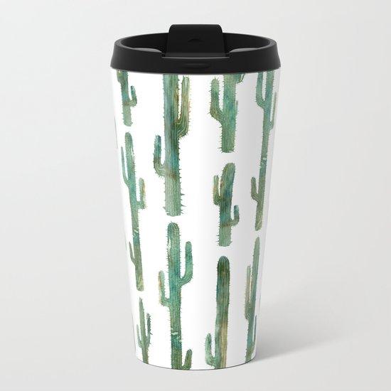Green Cactus Metal Travel Mug