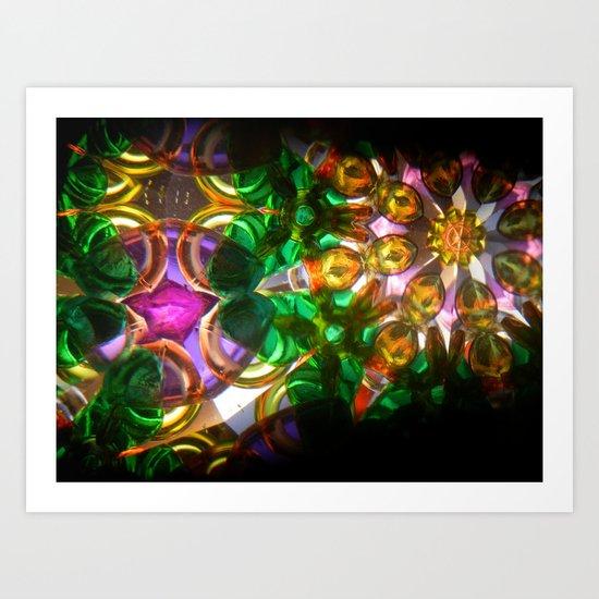 kaleido: green, purple, orange Art Print