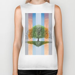 Digital painting of the seasons of the year in a tree Biker Tank