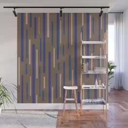 Interrupted Lines Mid-Century Modern Minimalist Pattern in Blue, Purple, Taupe, and Brown Wall Mural