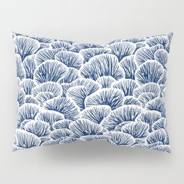 Mushroom Pattern - Dark Blue Pillow Sham