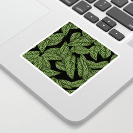 Green & Black Tropical Leaves Pattern Sticker