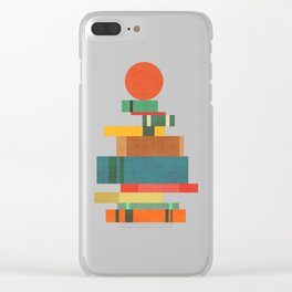 Book stack with a ball Clear iPhone Case