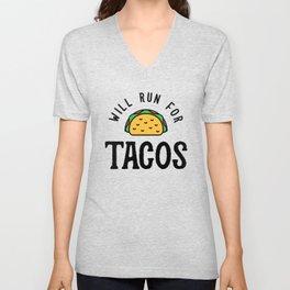 Will Run For Tacos v2 Unisex V-Neck