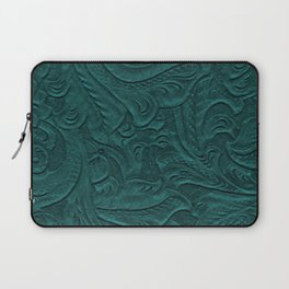 Deep Teal Tooled Leather Laptop Sleeve
