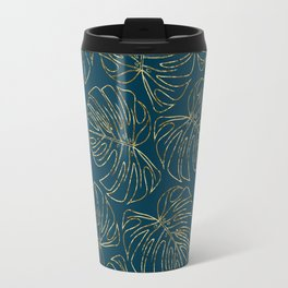 Metallic Monstera Leaves Travel Mug