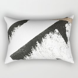 Sassy: a minimal abstract mixed-media piece in black, white, and gold by Alyssa Hamilton Art Rectangular Pillow