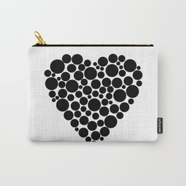 Simple black and white pattern  .heart black polka black polka dots . Carry-All Pouch