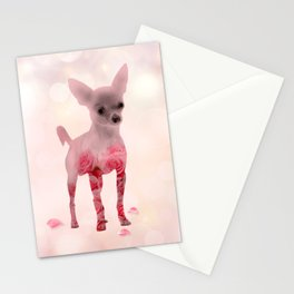 Chihuahua and roses Double Exposure Stationery Cards