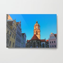 The Market Square (Markt) and the Church of Our Lady (Frauenkirche) in Meissen, Germany Metal Print