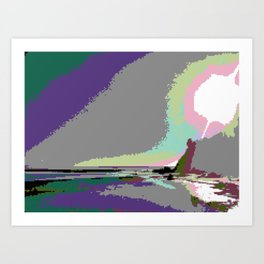 Beach Sunset - Vaporwave Aesthetic Art Print